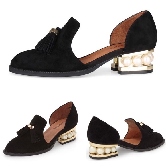 a3a0e4859d2 Jeffrey Campbell Civil Pearl Heel Loafers